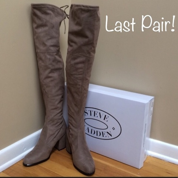 81334264b1c STEVE MADDEN  Slayer  Taupe Over The Knee Boots